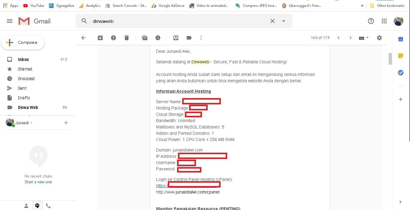 cara membuat blog - email akses cpanel